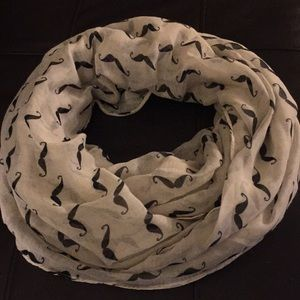 Large white mustache infinity scarf